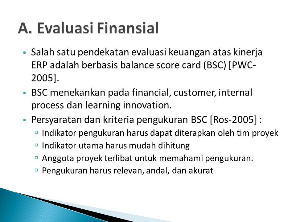 A. Evaluasi Finansial Salah satu pendekatan evaluasi keuangan atas kinerja ERP adalah berbasis balance score card (BSC) [PWC- 2005].